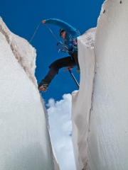 Stepping over a crevasse